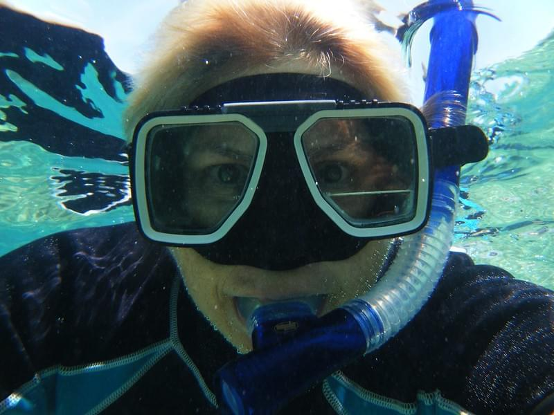 lady wearing prescription snorkel mask
